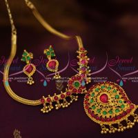 south-indian-traditional-kemp-red-attigai-necklace-screwback-earrings-online