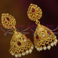 small-size-light-weight-kemp-red-pearl-gold-plated-jhumka-earrings-offer-price