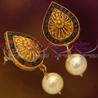 antique-red-green-floral-mat-finish-nakshi-earrings-traditional-design-jewellery-online