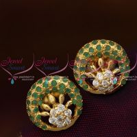 emerald-green-floral-design-semi-precious-stones-small-size-earrings-gold-plated