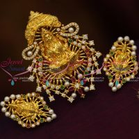 temple-jewellery-gold-plated-CZ-ruby-emerald-pendant-set-traditional-imitation-online