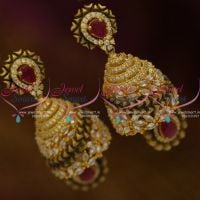 latest-antique-matte-brushed-finish-fusion-jewellery-jhumka-earrings-online