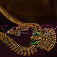 peacock-pearl-antique-gold-plated-mango-haram--south-indian-jewellery-online-store