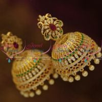 Ruby-emerald-white-big-broad-ad-gold-plated-diamond-finish-bollywood-style-fashion-jhumka-earrings-online