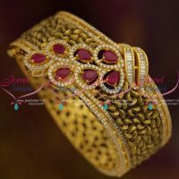 fusion-jewellery-antique-handmade-latest-broad-gold-design-kada-collections-ruby-cz-gold-plated