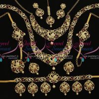 peacock-design-gold-finish-casting-model-ruby-white-full-bridal-combo-jewellery-set