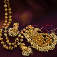 green-blue-stones-gold-plated-peacock-design-pearl-danglers-beads-gundla-mala-imitation-jewellery