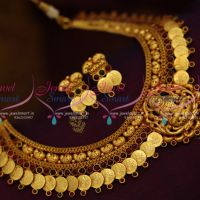 reddish-yellow-gold-plated-temple-coin-kasumala-laxmi-god-traditional-necklace-online
