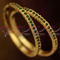 gold-plated-emerald-green-stones-2-pieces-set-thick-metal-bangles-online-south-indian