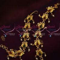 double-peacock-design-handmade-kemp-fancy-earchains-south-indian-ear-mattal-gold-plated