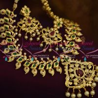 mango-peacock-design-red-green-stones-handmade-imitation-traditional-jewellery