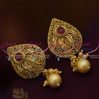 red-stone-gold-antique-finish-imitation-earrings-latest-fashion-low-price-jewellery
