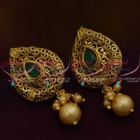 green-colour-stone-pearl-drops-light-weight-antique-tops-earrings-low-price