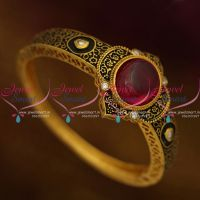 black-enamel-antique-finish-gold-plated-kundan-spinel-ruby-open-kada-buy-online