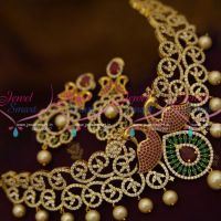 peacock-design-ruby-emerald-pearl-danglers-choker-necklace-jewellery-collections