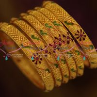 one-gram-forming-gold-gheru-plated-6-pieces-set-bangles-light-weight-jewellery