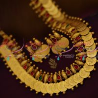 matte-dull-gold-kasu-mala-short-coin-necklace-traditional-temple-jewellery