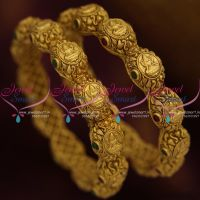 B9184 Screw Open Broad Heavy Antique Matte Gold Plated Temple Nakshi Bangles Shop Online