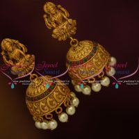 temple-laxmi-god-design-nagas-red-work-matte-finish-gold-plated-jhumka-earrings
