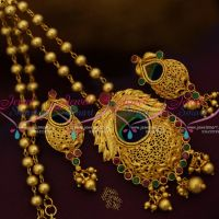 beads-gundla-mala-peacock-feathers-red-green-stones-pendant-set-one-gram-gold-jewellery-online