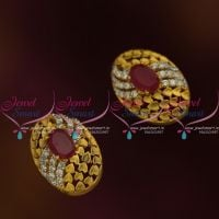 ER9686 Antique Matte Finish CZ Ruby Small Oval Stud Earrings Latest Designs Online