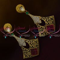 ER9680 Black Meena Colour Finish Kundan AD White Stones Fancy Light Weight Earrings Online