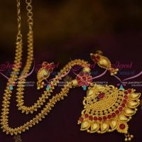 gold-plated-gajri-chain-mango-design-pendant-screwback-earrings-buy-online
