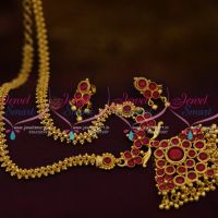 NL9653 Gold Plated Gajri Chain Kemp Red Stones Pendant Screwback Small Earrings