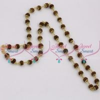 B9662 Rudraksha Mala 8 MM Beads 27 Inches Length Hand Beaded Metal Caps String