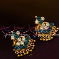 ES9657 Daily Wear Blue White AD Stones Screwback Traditional Design Earrings Gold Plated