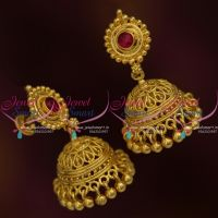 J9676 Lightweight Screw Back Lock South Indian Jewellery Jhumka Earrings Online