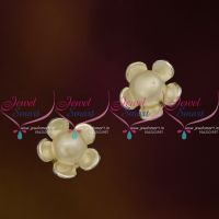 ER9697 Sterling Silver 92.5 Make Floral Design Pearl Small Ear Studs Tops Buy Online