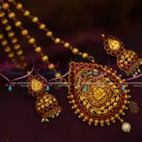 PS9683 Gheru Gopuram Finish Design Temple Jewellery Traditional Antique Finish Pendant Earrings Beads Chain
