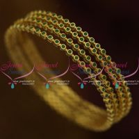 B9769 Emerald AD Green Stones 4 Pieces Set Thin Round Design Bangles Fancy Buy Online