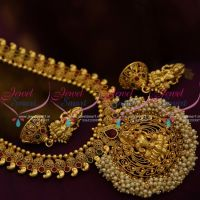 NL9805 Antique Gold Design Plated Haram Temple Pearl Pendant Latest Jewellery Online