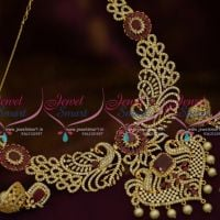 NL9817 Ruby White American Diamond Broad Peacock Necklace Shop Online Latest Designs