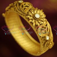 B4641 One Gram Antique Gold Plated Real Look Open Kada Jadau Kundan Exclusive Buy Online
