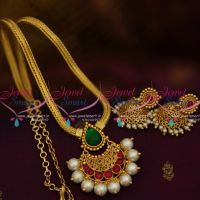 PS9850 Gold Plated South Indian Traditional Flat Chain Pendant Jhumka Kemp Jewellery Online