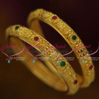 B9831 Latest Traditional Design Kemp Red Green Gold Plated 2 Pcs Set Bangles Buy Online