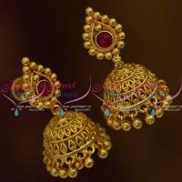 J9841 Kemp Small Size Light Weight Screw Back Jhumka Earrings South Indian Designs Online