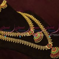 NL9838 Short Long Combo Kemp Necklace South Indian Ethnic Jewellery Gold Plated Online