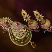 PS9815 Latest Gold Finish Jewellery Matte Antique Kemp Pendant Jhumka Earrings Online