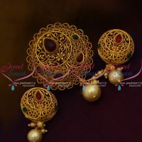 PS9848 Floral Intricate Work Matte Gold Plated Low Cost Pendant Set Buy Online