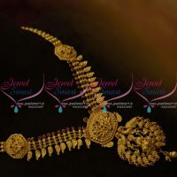 NL9743 Gold Look Model One Gram Temple Traditional Design Medium Necklace Online