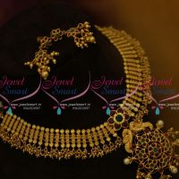 NL9761 South Indian Traditional Finish One Gram Gold Beads Danglers Necklace Online