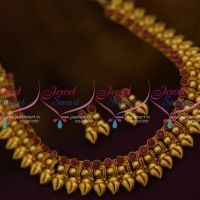 NL9735 Latest One Gram Gold Plated Shell Design Ruby Short Necklace Buy Online