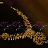 NL9744 Latest Gold Finish Temple Jewellery Nakshi Work South Indian Collections Online
