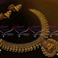 NL9802 Antique Mango Traditional Design Temple Short Necklace Jhumka Earrings Online