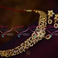 NL9966 Ruby White CZ Stones Imitation Jewellery Choker Set Stylish Collections Online