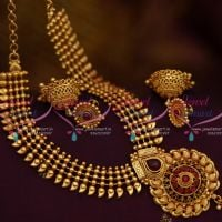 NL10066 Red Kemp Beads Mango Design Traditional Short Necklace Jhumka Screw Back Offer Price Jewellery